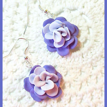 Flower Petal Earrings Polymer Clay Flower Blossoms  Dangle Earrings Handcrafted 3 shades of purple