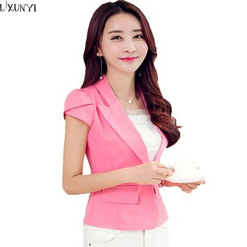 2017 Summer Korean Bazer Feminino OL Slim Short Blazer Women Short Sleeve Ladies  Office Suit Black White Pink Blue Hot