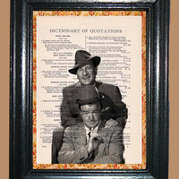 Abbott and Costello Comedians - Vintage Dictionary Page Book Art Print Upcycled Page Art Collage Art Comedian Print