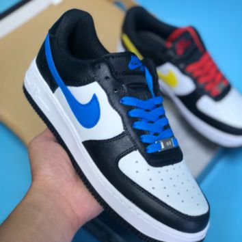 AUGUAU N387 Nike Air Force 1 Leather Breathable Casual Skate Shoes Black Blue Red Yellow