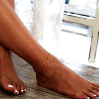Sequin Detail Double Layer Chain Ankle Bracelet -SheIn(Sheinside)