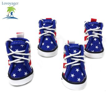 Fashion Canvas American Flag Dog  Shoes  Sport  Casual Anti-slip Puppy Teddy Sneaker Pet boots