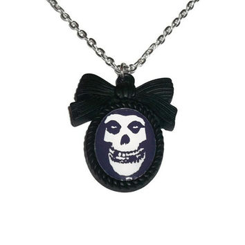 Misfits Necklace, Black Cameo Necklace, Horror Punk Band