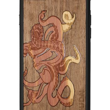 Slim Wooden Phone Case | Graffiti Octopus by Jake Lindberg