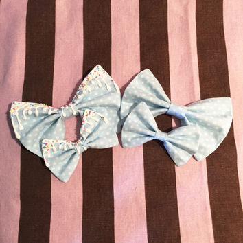 Pastel Blue Polka Dots Bow
