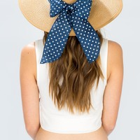 Dotty Bow Trimmed Wide Brim Hat