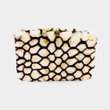 faux fur honeycomb handbag clutch bag purse pocketbook