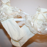 Girls Ivory Nylon & Lace Socks with Ivory Satin Ribbon Bows