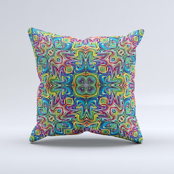 Crazy Neon Mirrored Swirls Ink-Fuzed Decorative Throw Pillow