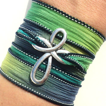 Cross Bracelet, Wrap Bracelet, Silk Wrap, Bohemian Jewellery,Yoga, Christmas, Stocking Stuffer, Cross, Jewelry, Gift For Her, Teacher Gifts