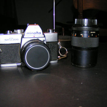 Vintage Minolta SRT 200 Camera with 50mm and 135mm lenses - Super Addition for Any Shutterbug or Photographic Equipment Collector