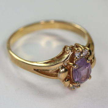 Amethyst Ring Crystal Accents Size 9 Vintage Avon