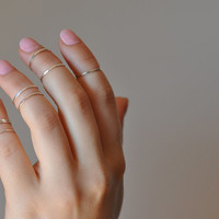 One sterling silver knuckle ring. Thin hammered midi ring. Boho style