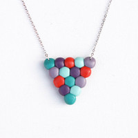 Geometric dots necklace, triangle pendant, violet, teal, purple, red, fimo