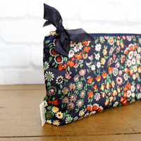 Navy Floral Liberty of London Clutch Zipper Pouch, Pencil Pouch, Supplies, Teens, Women, Organize, Purse Bag