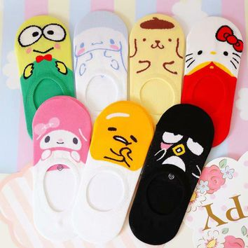 Women Girls Invisible Silicone Non-slip Socks My Melody  Gudetama Cinnamoroll Cartoon Pattern Boat Sock Slippers