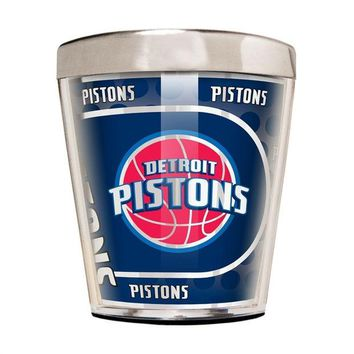 V0NE05TF NBA Detroit Pistons 2 Ounce Acrylic and Stainless Steel Shot Glass with Metallic Graphics
