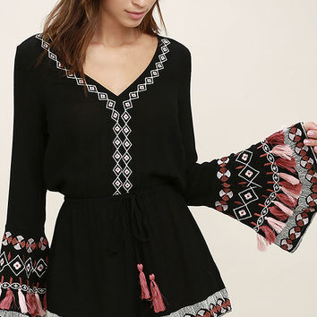 Hiatus Black Embroidered Long Sleeve Romper