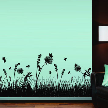 Wall Decal Vinyl Sticker Decals Art Decor Design grass branch plant nature flower butterfly tree Dorm Bedroom House dragonfly gift (m1324)