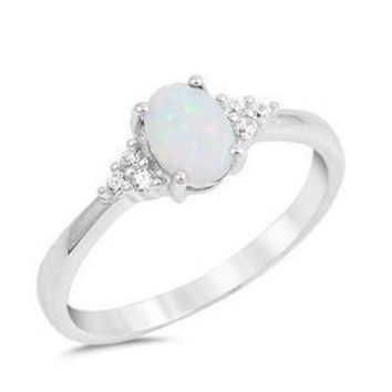 White Oval Opal and CZ Accented Sterling Silver Ring