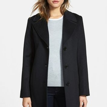 Women's Fleurette Notch Collar Piacenza Wool Blend Coat,