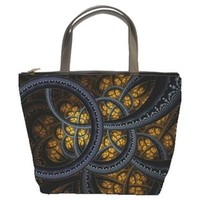 Steampunk Circles Fractal Handmade Bucket Bag Handbag Leather Fabric