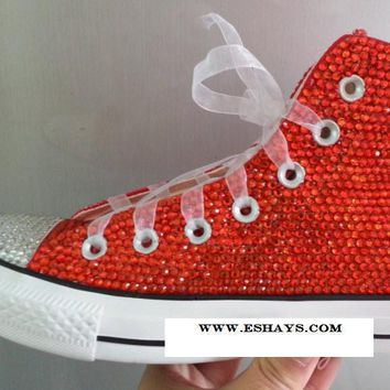 Red Crystal High Top Converse with Ribbon Laces