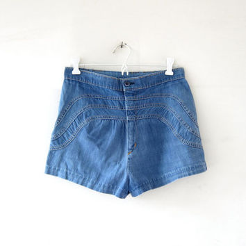 Vintage 70s jean shorts. High waist shorts. Daisy Dukes. Hot pants.