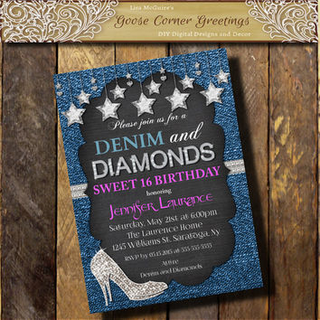 DENIM & DIAMONDS Hot Pink Invitation/Sweet 16 21st 30th 40th Sparkle High Heels Bridal Shower Bachelorett Party Bling Custom invite