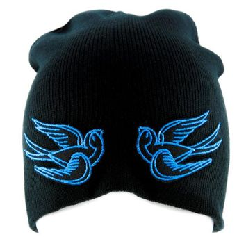 ac spbest Blue Swallow Sparrow Birds Beanie Alternative Clothing Knit Cap Rockabilly Tattoo Ink
