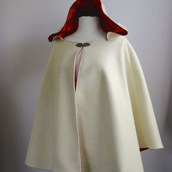 Women's Hooded Cape Hip Length Bridal cape