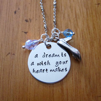 """Disney's """"Cinderella"""" Inspired Necklace. A Dream is a Wish Your Heart Makes. Silver colored, Swarovski crystal, for women or girls"""