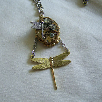 Gold and Silver Dragonfly Watch Works Pendant