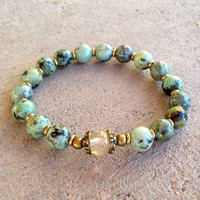 African Turquoise and Yellow quartz bracelet