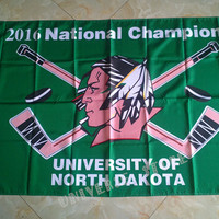 North Dakota Fighting Sioux Team Logo 2016 National Champions Hockey Flag 3FTX 5FT University of North Dakota Championship flag