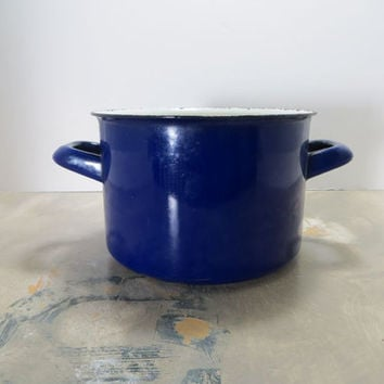 Indigo Finel Pot Enamel Pot Mid Century Enamelware Cookware Blue Finel Pot Finel of Arabia