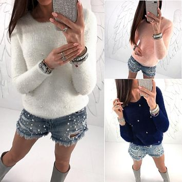 Women Long Sleeve Round Neck Faux Pearl Decorate Fuzzy Sweater Pullover Tops