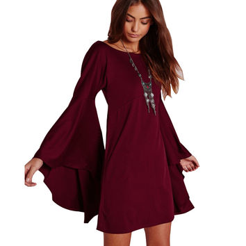 Brand  New  Plus Size Loose Casual Dress Fashion Autumn O-neck  Horn Long Sleeve Women Dress Vestidos  JRM182