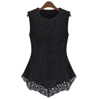 Black Sleeveless Lace Blouse