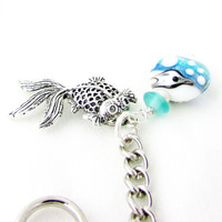 Goldfish Key Chain, Beach Keychain, Ocean Lamp Work Key Ring