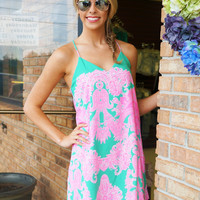 Neon Paisley Shift Dress - Neon Pink and Teal