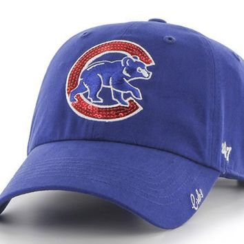 Women's Chicago Cubs Sparkle Team Color Adjustable hat By '47 Brand