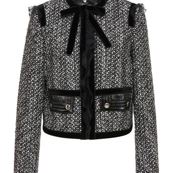 Ruffled Bow-Detailed Tweed Jacket | Moda Operandi