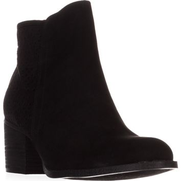 madden girl Fayth Ankle Boots, Black Fabric, 7.5 US