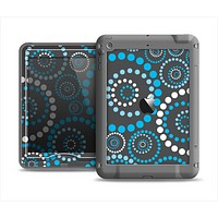 The Retro Blue Circle-Dotted Pattern Apple iPad Mini LifeProof Nuud Case Skin Set