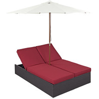 Convene Outdoor Patio Chaise with Umbrella in Espresso Red