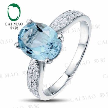 CaiMao 1.75 ct Natural Aquamarine 18KT/750 White Gold  0.14 ct Full Cut Diamond Engagement Ring Jewelry Gemstone