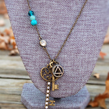 Antiqued Key to Willingess Recovery Necklace