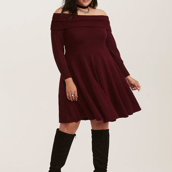 Merlot Red Knit Off Shoulder Sweater Dress