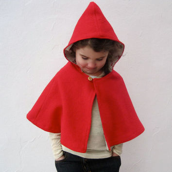 little red riding hood girls cape size 3T to 5T / by SewnNatural